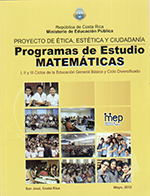 Portada Programas de estudio de Matemáticas para la Primaria y Secundaria en Costa Rica.